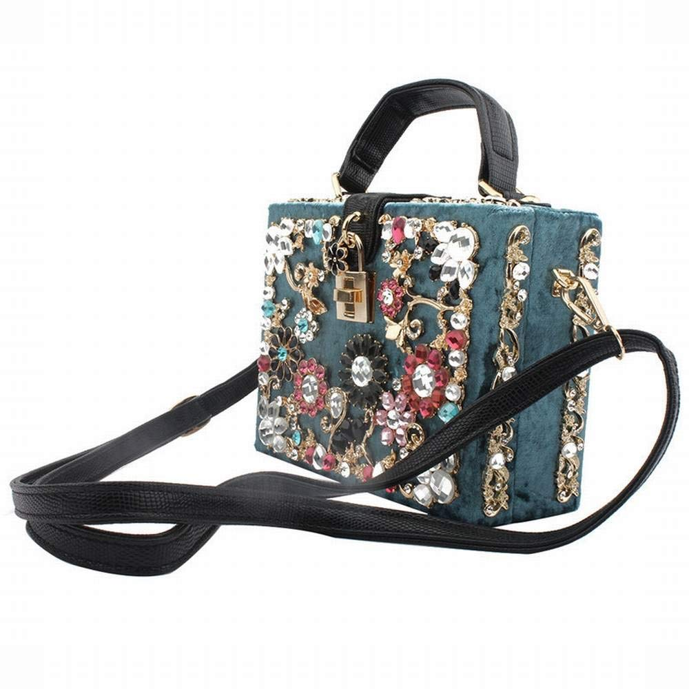 MALLTY MALLTY MALLTY Samt Handtasche Schultertasche Messenger Bag Handtasche Dinner Bag Handtasche (Farbe   Blau) B07PCPL8N2 Clutches Verhandlung ec2f66