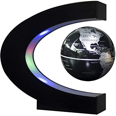 Trenzsary Floating Globe with LED Lights C Shape Magnetic Levitation Floating Globe World Map for Desk Decoration (Black): Toys & Games