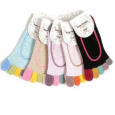 Mishiner 5 Pares de Calcetines de algodón para Damas 5 Dedos del ...