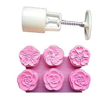 Molde para tartas de luna con 6 sellos - Prensa para decoración de otoño medio 50 g, color blanco Plum Blossom: Amazon.es: Hogar