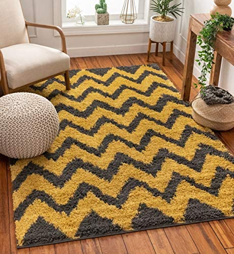 Well Woven Madison Shag Passion Chevron Gold Grey Modern Area Rug 5' X 7'2''