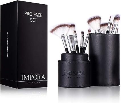 Pincel de maquillaje y estuche - pincel para polvos, en ángulo de contorno, Kabuki, pincel de sombra de ojos, pincel para base y más [10 pinceles faciales y portapinceles]: Amazon.es: Belleza