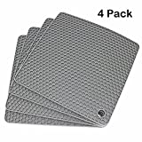 Lucky Plus Silicone Rubber Trivet Mat for Hot Pan and Pot Hot Pads Counter Mat Heat Resistant Tablemat or Placemats 4 Pack,Size:7.5x7.5 Inch, Color: Gray,Shape:Square