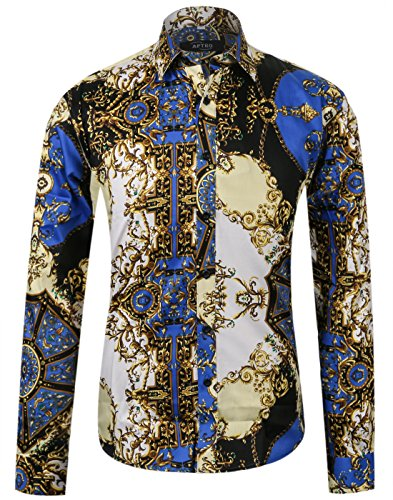 APTRO Men's Cotton Fashion Shirt Luxury Design Long Sleeve Floral Shirt APT003 XL