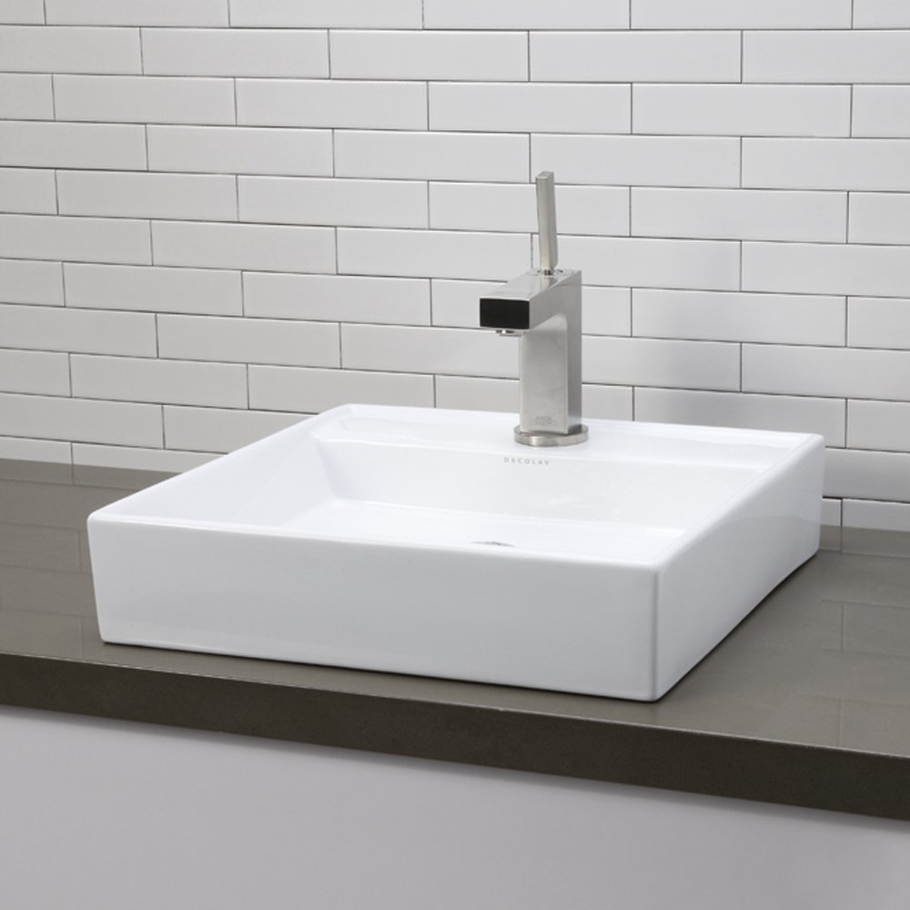 decolav cwh classically redefined low profile square above  - decolav cwh classically redefined low profile square above counterlavatory sink white  vessel sinks  amazoncom