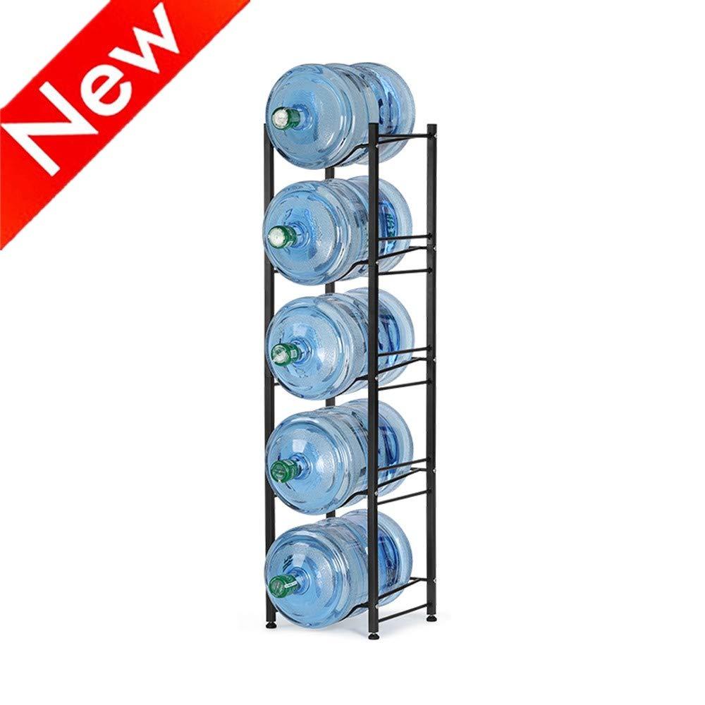 Nandae Water Cooler Jug Rack, 5-Tier Heavy Duty Water Bottle Holder Storage Rack for 5 Gallon Water Dispenser, Save Space (Black)