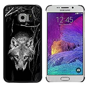 Planetar® ( Tame Wild Wolf Dog Black White Canine ) Samsung Galaxy S6 EDGE / SM-G925 / SM-G925A / SM-G925T / SM-G925F / SM-G925I Fundas Cover Cubre Hard Case Cover