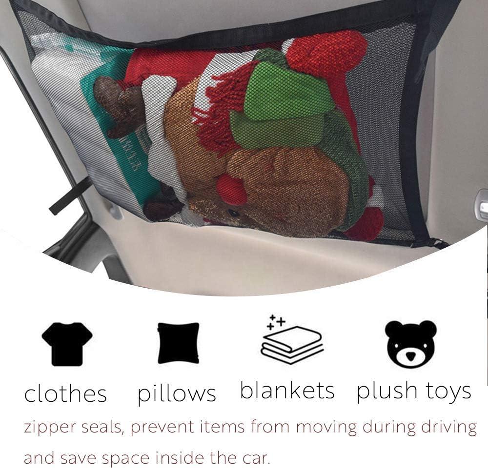 Adjustable Sundries Storage Pouch with Zipper Buckle CEISPOB SUV Car Ceiling Storage Net Pocket Interior Cargo Net Breathable Mesh Bag Car Roof Bag