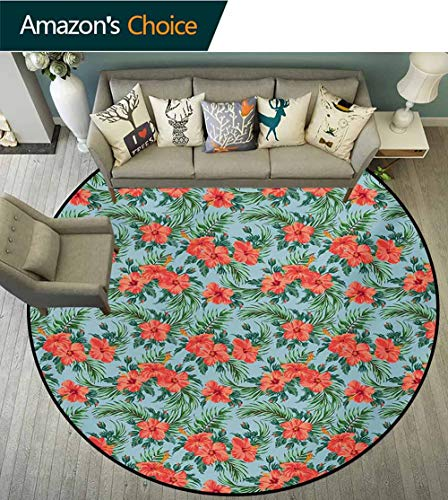 RUGSMAT Luau Modern Washable Round Bath Mat,Exotic Summer Bouquet Design with Hibiscus Flourish Aloha Botanical Non-Slip Bathroom Soft Floor Mat Home Decor,Diameter-31 Inch Pale Blue Dark Coral Green