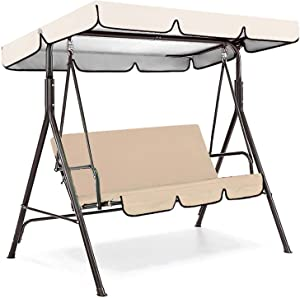 Outdoor Swing Cushion 3 Seater, Swing Chair Cushion, Waterproof Swing Seat Pads, Swing Replacement Cushions Chair Cover for Patio Garden Yard (Beige)