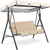 LAJI Outdoor Patio Swing Cushion 3 Seater Swing Chair Cushion Swing Seat Pads Waterproof Cover Swings Canopy