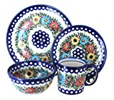 Blue Rose Polish Pottery Rainbow Daisy 4 PC Place Setting Review