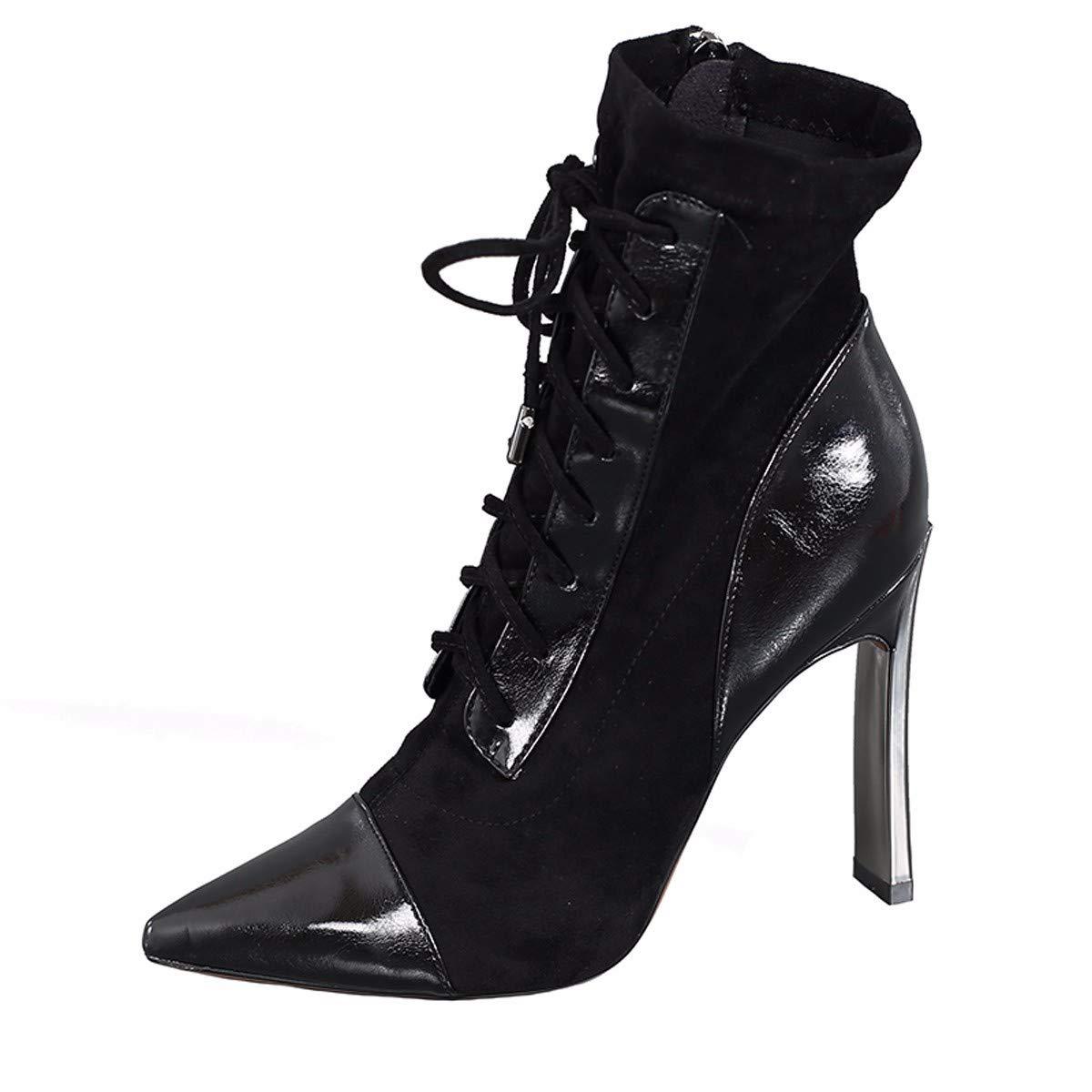 LBTSQ Damenschuhe Mode Nähen Heel 10Cm Mitte Stiefel Schnürsenkel Martin Stiefel Spitze Dicke Schuhe Stiefel.