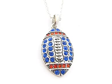 Amazon football royal blue and orange crystal necklace jewelry football royal blue and orange crystal necklace jewelry florida boise state aloadofball Images