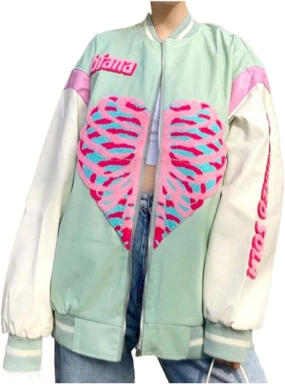 Cslada Uniforme de béisbol Bordado para niñas Ins Femeninas Versión Coreana Suelta del japonés Harajuku Chaqueta de Cuero Chaqueta Top Hip-Hop Advanced Street Skull Love Jacket