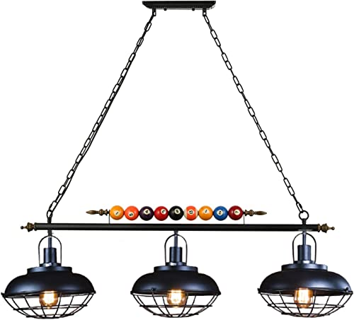 LAKIQ Industrial Hanging Island Lighting Fixture 3 Lights Vintage Pool Table Pendant Light Bowl Cage Shade with Billiard Ball Decoration for Kitchen Dining Table Gaming Room Restaurant