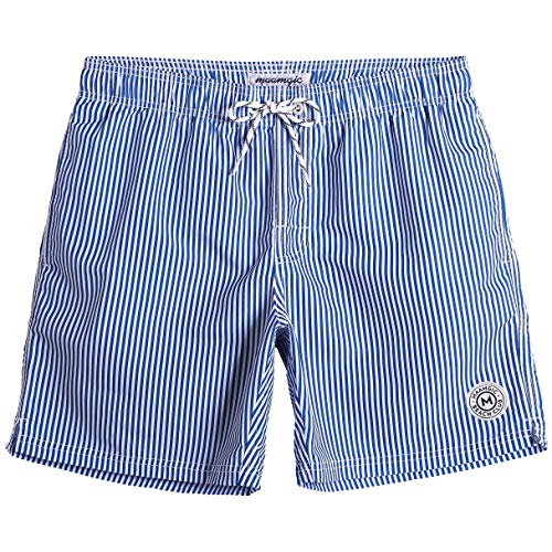 MaaMgic Mens Stripe Swim Trunks Slim Fit Swimming Shorts Quick Dry Mid Length Mesh Lining