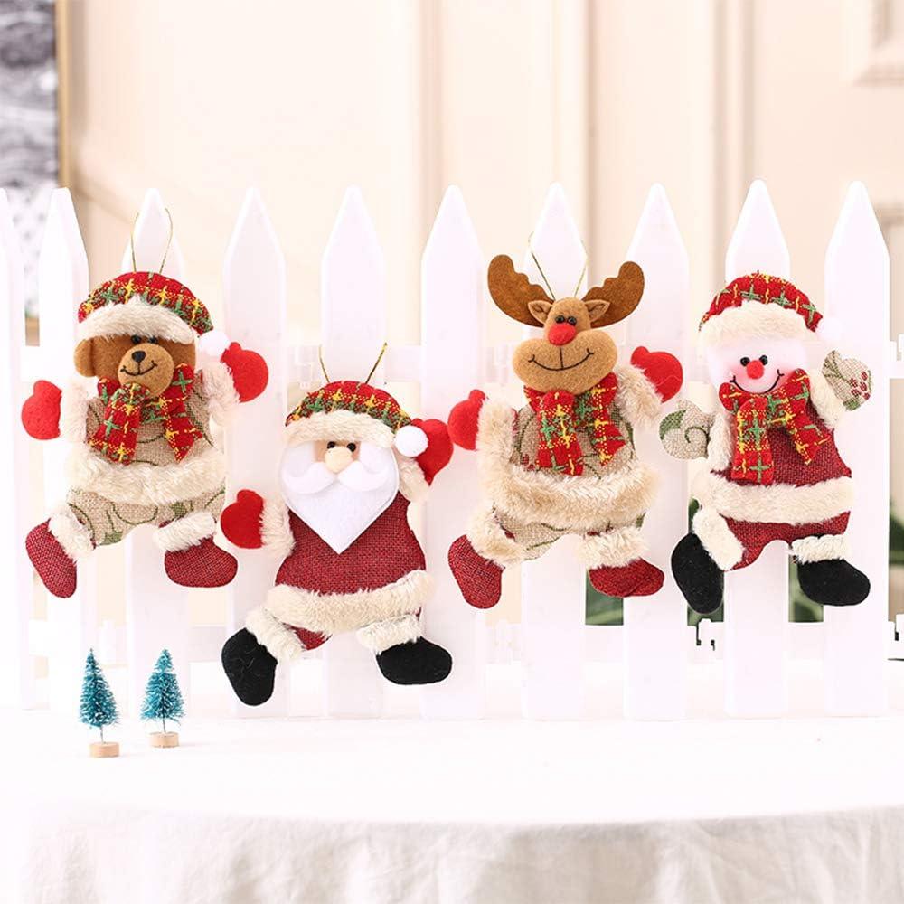 /élan Ours ZZM Lot de 4 d/écorations Miniatures /à Suspendre pour Sapin de No/ël Motif P/ère No/ël Bonhomme de Neige