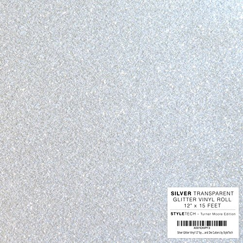 Silver Glitter Vinyl 12'' by 15 FEET Transparent Glitter Adhesive Roll - for Cricut, Silhouette Cameo, Craft Cutters, and Die Cutters by StyleTech by StyleTech