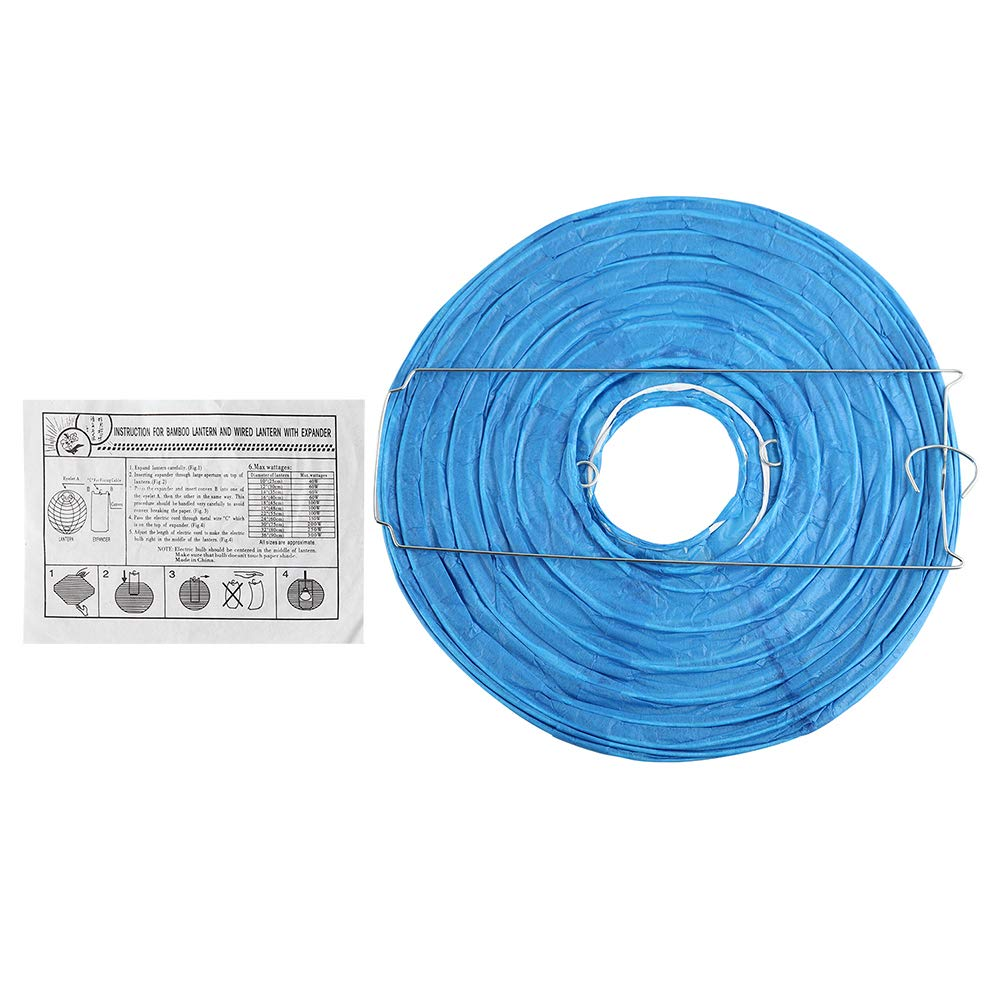 TTKTK 12 Packs Blue Round Paper Lanterns with Assorted Sizes for Wedding Party Decorations