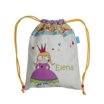 Bolsa mochila princesa confeccionada en loneta y personalizada con el nombre bordado (30 x 37