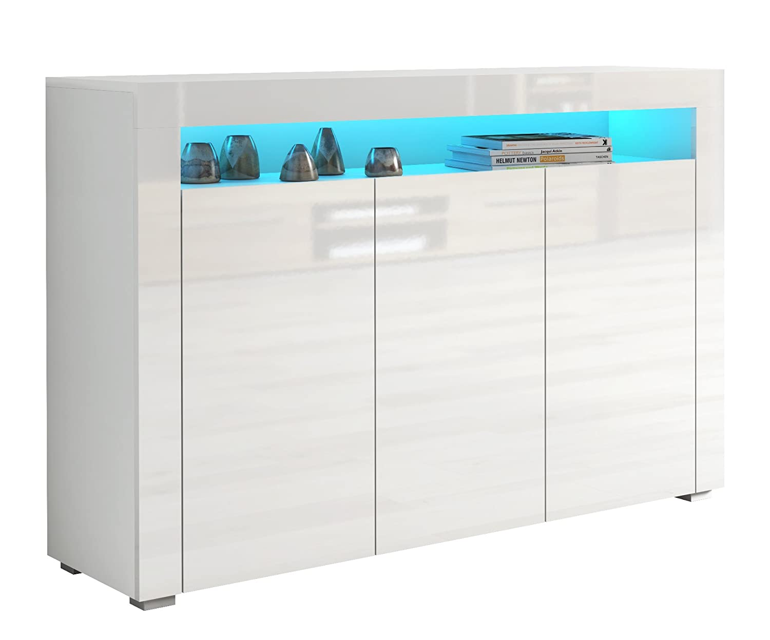 b419aec02f2c If Modern Large White High Gloss Sideboard with Blue LED Lights Quality  Cupboard Cabinet Unit White