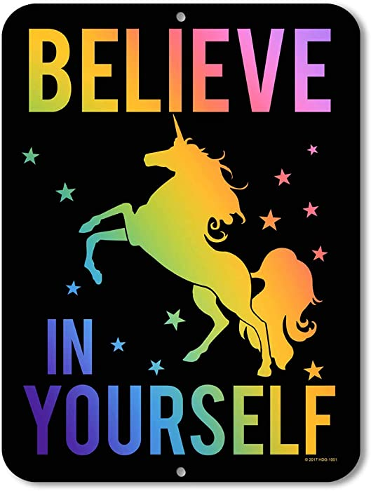 Honey Dew Gifts Unicorn Decor - Believe in Yourself - Rainbow Unicorn - 9 x 12 inch Metal Aluminum Novelty Tin Sign Decor, Unicorn Room Decor