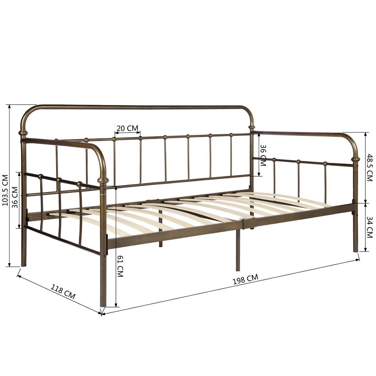 Aingoo metal sofá cama individual marco retro multifuncional ...
