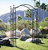 Outdoor Garden Arch 7.5-ft Tall W/ 4 Solar Lights Patio Decoration Black Steel Arbor Frame for Back Yard or Walkway