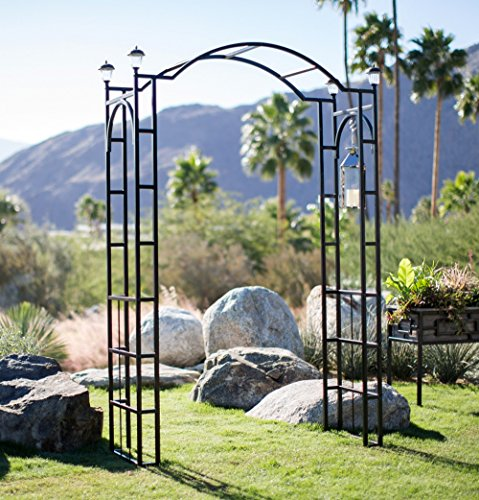 Outdoor Garden Arch 7.5-ft Tall W/ 4 Solar Lights Patio Decoration Black Steel Arbor Frame for Back Yard or Walkway by Belham Living