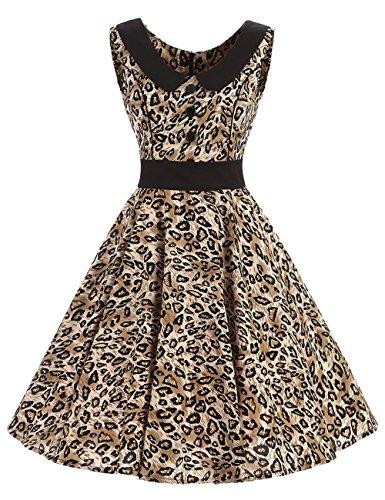 VKStar - Vestido - trapecio - para mujer leopardo