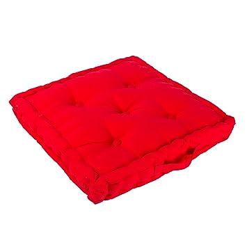 Homescapes Coussin De Chaise Couleur Rouge Fait En 100 Coton 50x50 Cm Pour