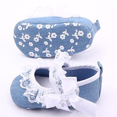 Auntwhale Niñito Bebé Chica recién nacida Cinta mágica linda infantil suave Princesa Lace Denim Antideslizante Bowknot Slip On