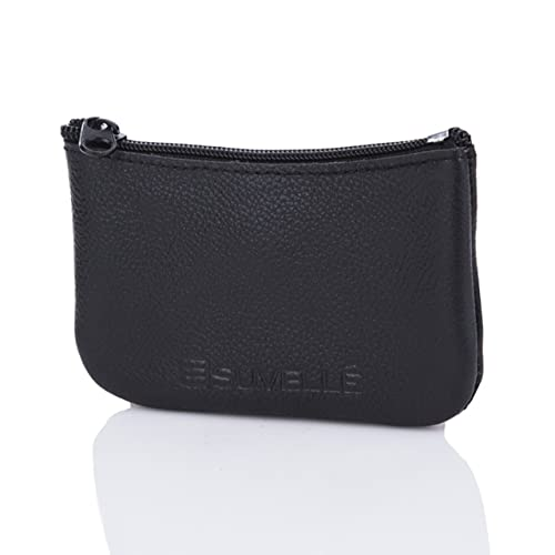 4ef704b71ce8 Suvelle Men s Genuine Leather Zippered Coin Pouch Change Purse Key Holder  Wallet WP470
