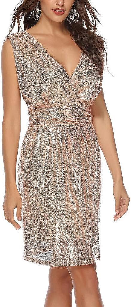 Doublelift Women Sparkle Dress Sleeveless Deep V Neck Sequin Glitter Party Club Dresses