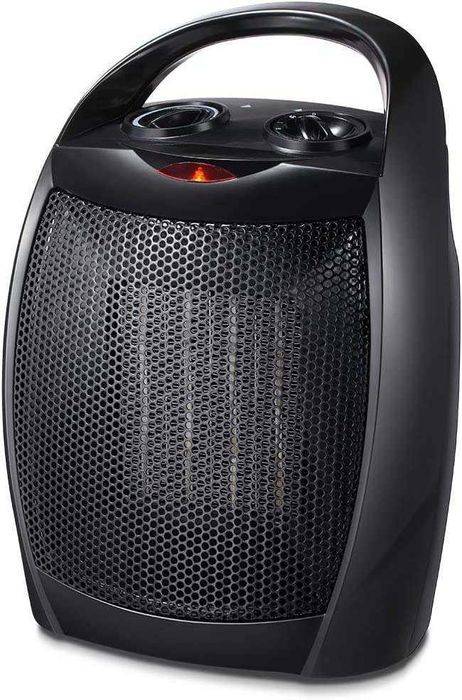 Kismile Small Ceramic Space Heater Electric Portable Heater Fan with Adjustable Thermostat and Overheat Protection ETL Listed for Home Office and Kitchen Indoor Use,750W/1500W (Black)