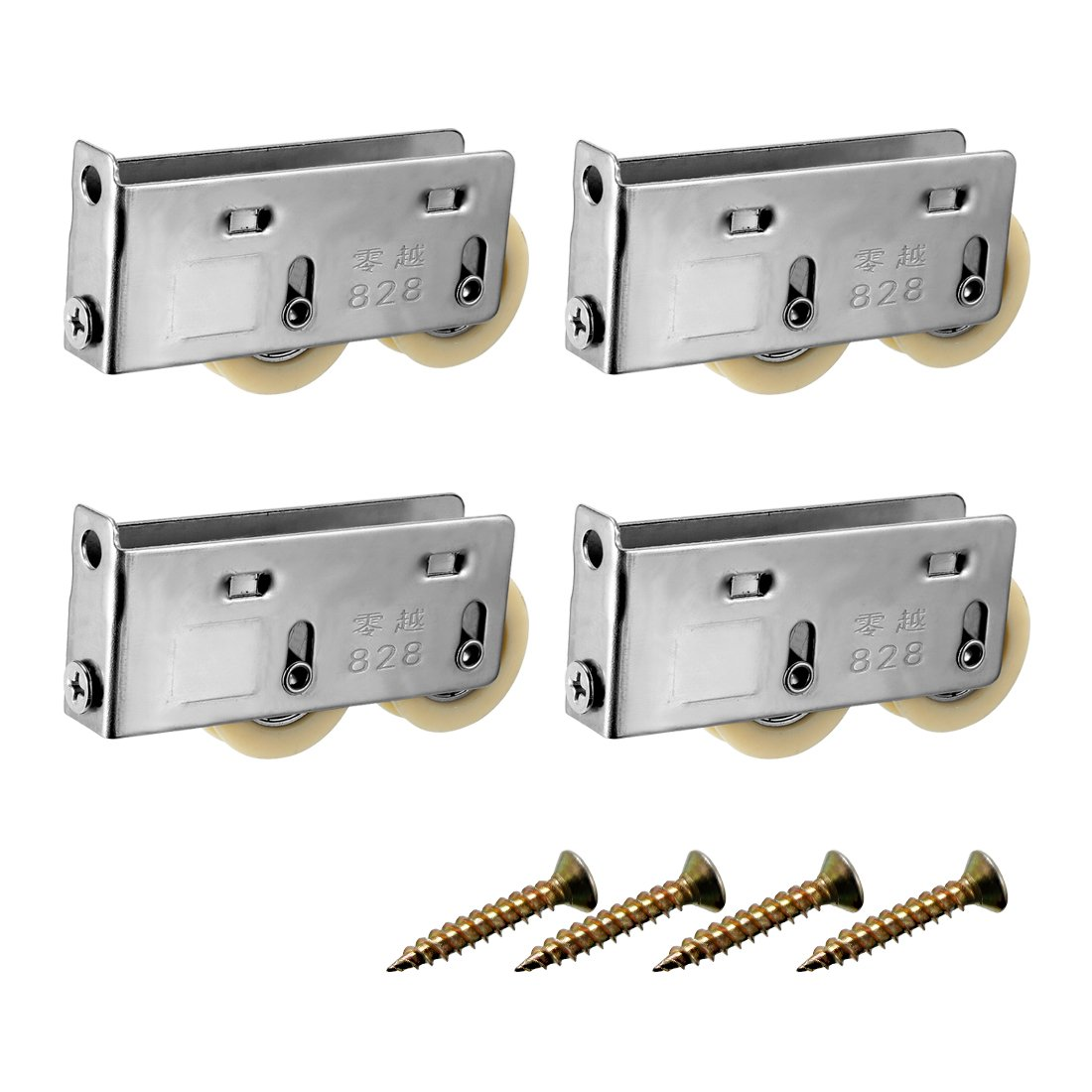 uxcell 27.5mm Dia, Sliding Door Window Pulley Double Wheel, Stainless Steel 4pcs