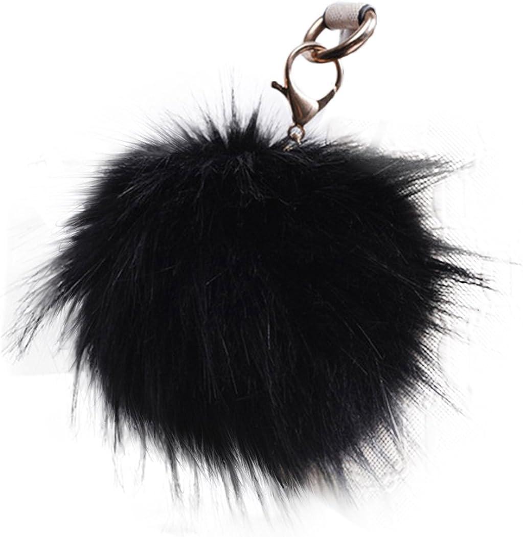 Fluffy Large 13cm Fox Fur PomPom Ball Car Handbag Pendant Keychain Key Ring