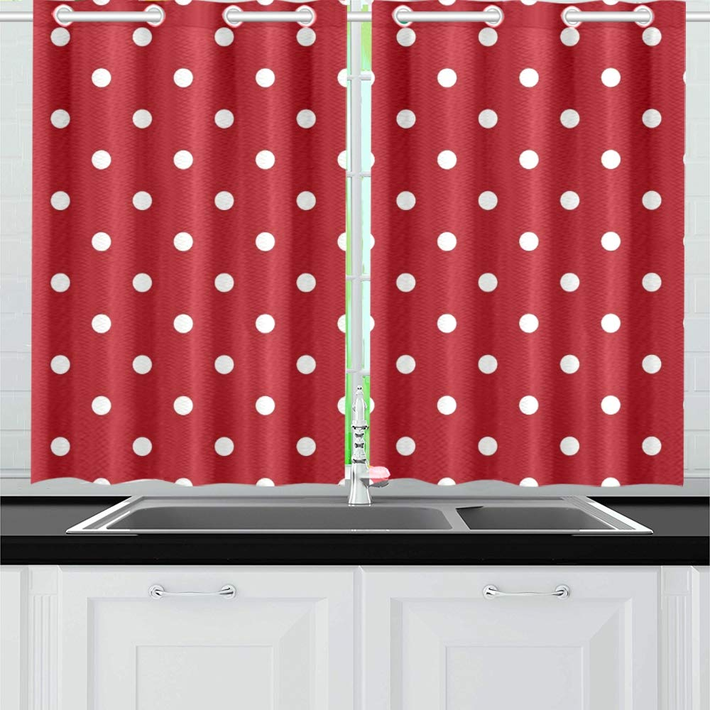 AIKENING White Polka Dot On Red Kitchen Curtains Window Curtain Tiers for Café, Bath, Laundry, Living Room Bedroom 26 X 39 Inch 2 Pieces