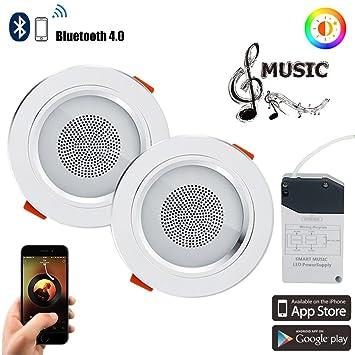 2pcs Led Color Changing Bluetooth Ceiling Light Lamp 4.0 Music Seiling Lights Smart Creative Decorative Down Lights Lights & Lighting Ceiling Lights & Fans