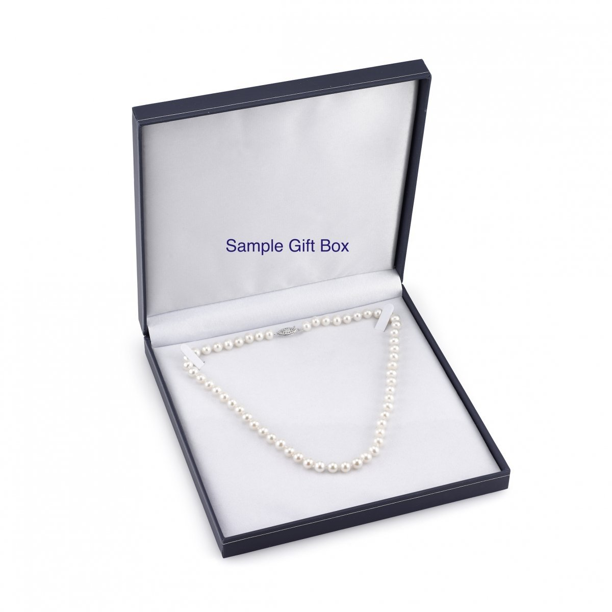 THE PEARL SOURCE 14K Gold 7.5-8.0mm AAA Quality Round Genuine White Japanese Akoya Saltwater Cultured Pearl Necklace in 24 Matinee Length for Women