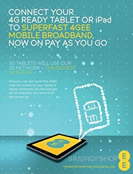 EE 4G Mobile Broadband PAYG Combi SIM Card With 100GB Data