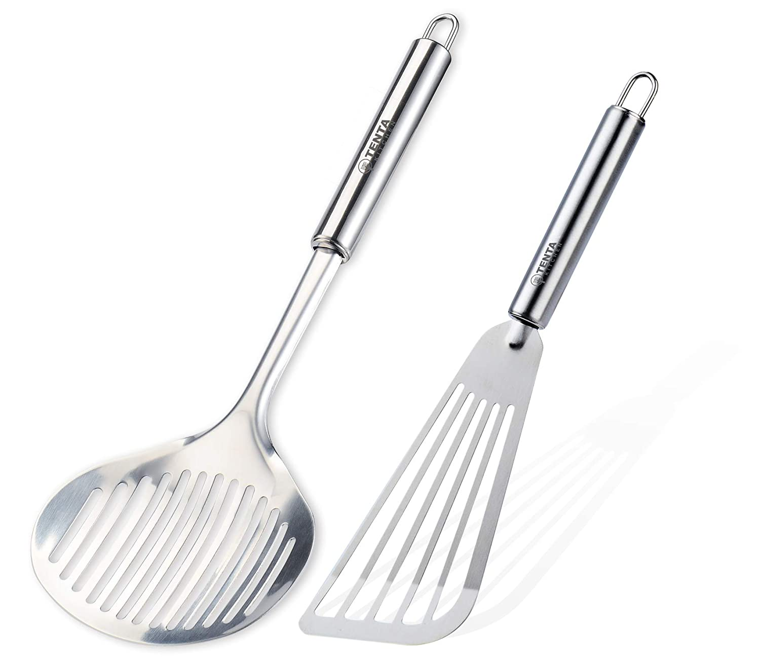 Tenta Kitchen Flexible Fish Turner Spatula, for Fish/egg/meat/dumpling Frying (Turner Set Of 2)