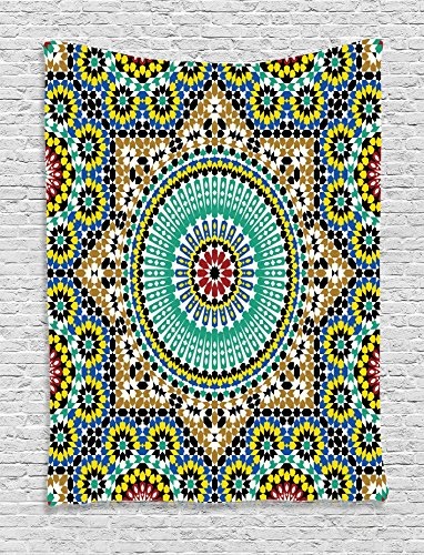 (Ambesonne Moroccan Decor Collection, Architectural Glazed Decorative Wall Tile Ceramic Historical Travel Destinations Image, Bedroom Living Room Dorm Wall Hanging Tapestry, Khaki Blue )