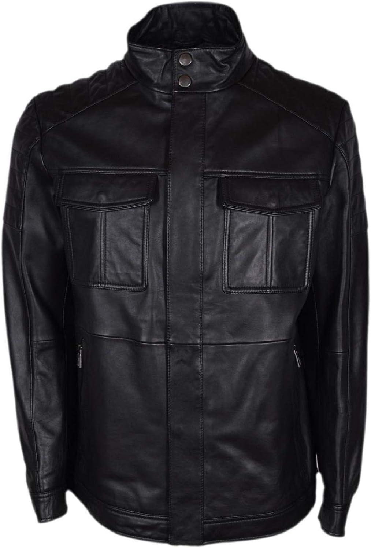 Men/'s Boss Cafe Racer Bomber Top Biker Moto Genuine Sheepskin Leather Jacket
