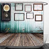 Beshowere Shower Curtain Clock Decor A Vintage Clock and Empty Picture Frames in an Old Room Wooden Backdrop Green and Brown