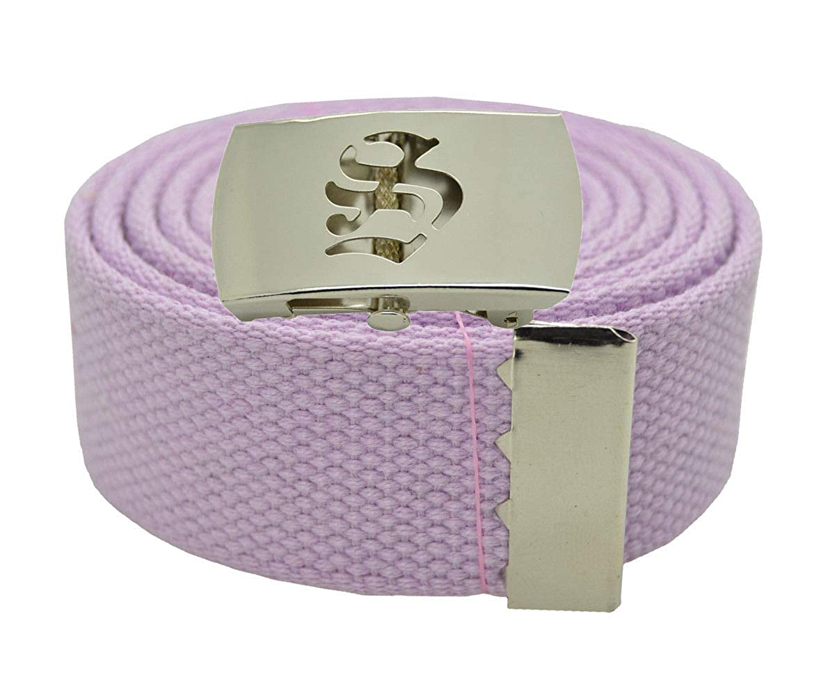 Stylish Canvas Military Web Belt /& BIGS Silver Buckle 72 Inches LAVENDER #AAAS