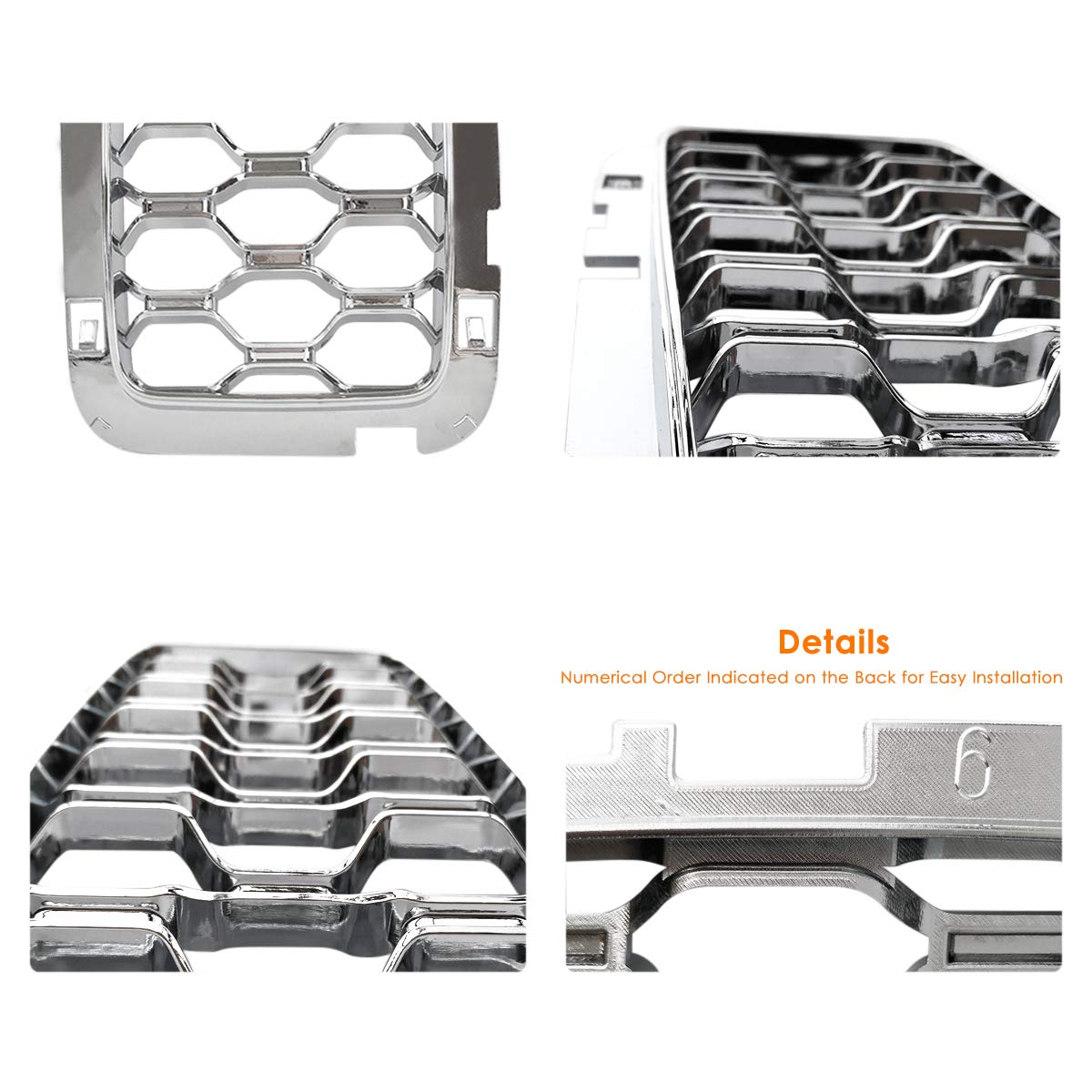 XBEEK 7PC Gloss Black Grill Rings Grille Grill Inserts Fit for 2017 2018 2019 Jeep Grand Cherokee