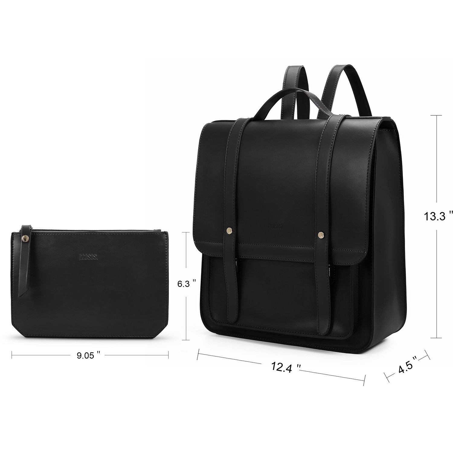 ECOSUSI Women Briefcase Laptop Backpack PU Leather Satchel Messenger Bag Fits up to 14 Inch Laptops with Small Purse, Black by ECOSUSI (Image #8)