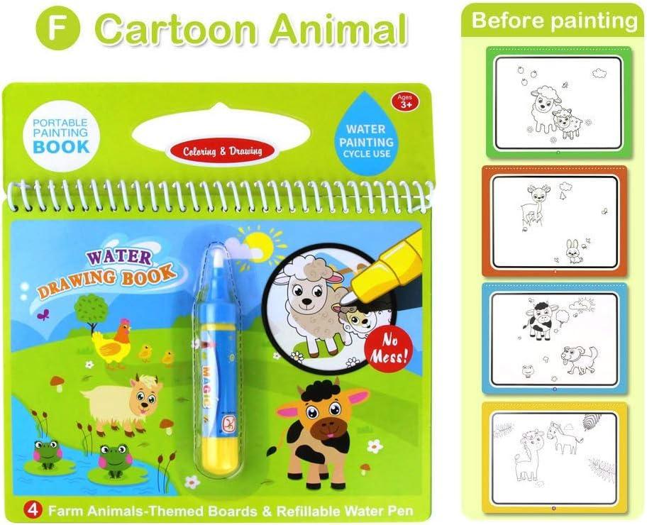 Kids Magic Book Animal Water Drawing Pen Coloring Book Painting Graffiti Board